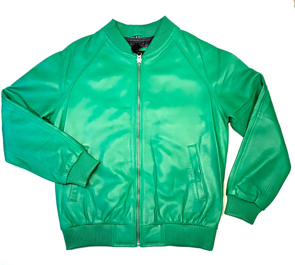 Lime Green Naked Lamb Skin Bomber Jacket - Dudes Boutique