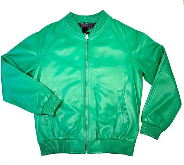 Kashani Lime Green Naked Lamb Skin Bomber Jacket - Dudes Boutique