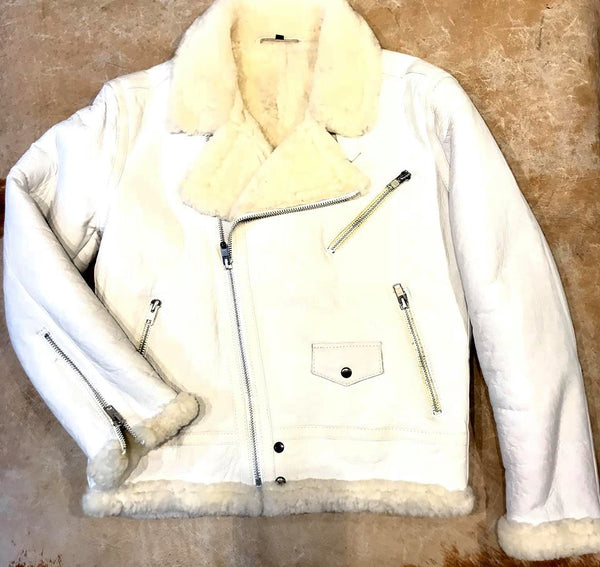 Jakewood - Shearling Racing Aviator White Jacket - Dudes Boutique