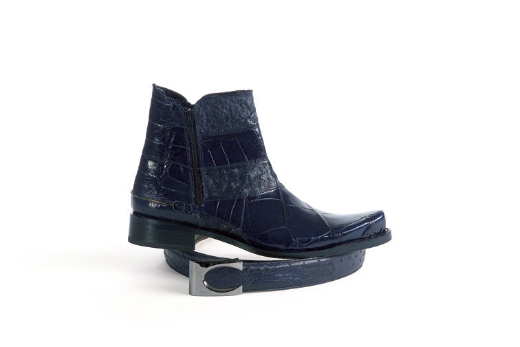 Mauri - 2096 Blue Ostrich Dress Boot - Dudes Boutique