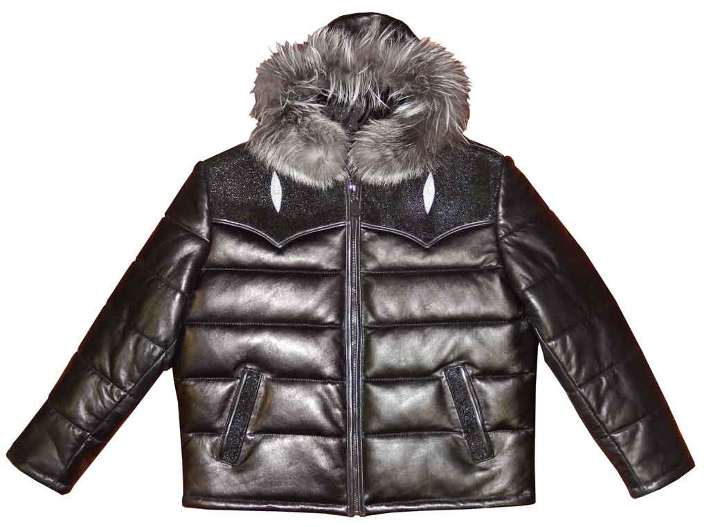 G-Gator - 2910H Quilted Lambskin/Stingray Hooded Jacket - Dudes Boutique