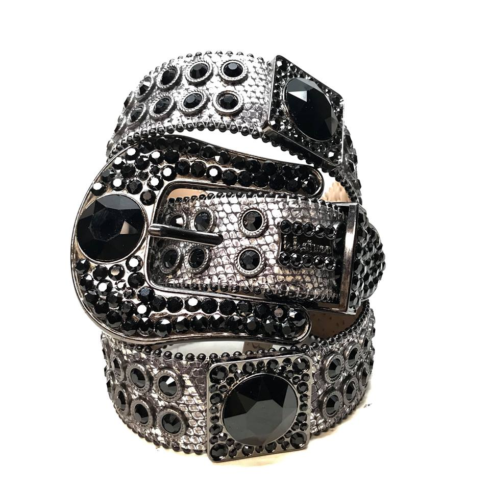 B.B. Simon Big Block Black Swarovski Crystal Belt - Dudes Boutique