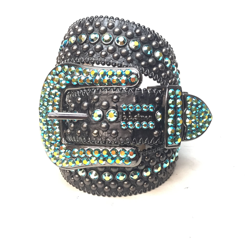 B.B. Simon Fully Loaded Turquoise Swarovski Crystal Belt - Dudes Boutique