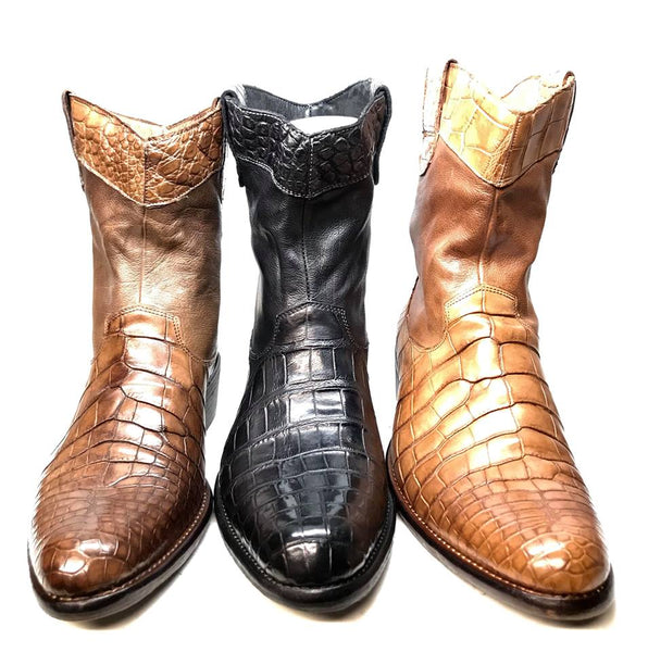 Calzoleria Toscana Alligator Belly/Vitello Calf Roper Boot - Dudes Boutique
