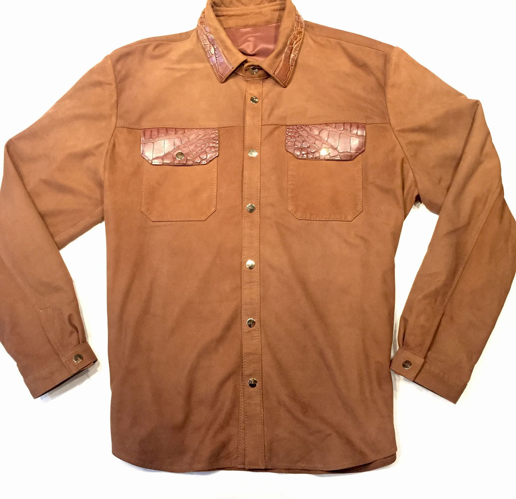 G-Gator Cognac Suede Alligator Button Up Shirt - Dudes Boutique