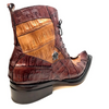Mauri 42742 Cognac Chocolate Crocodile Tail Two Tone Ankle Boots - Dudes Boutique