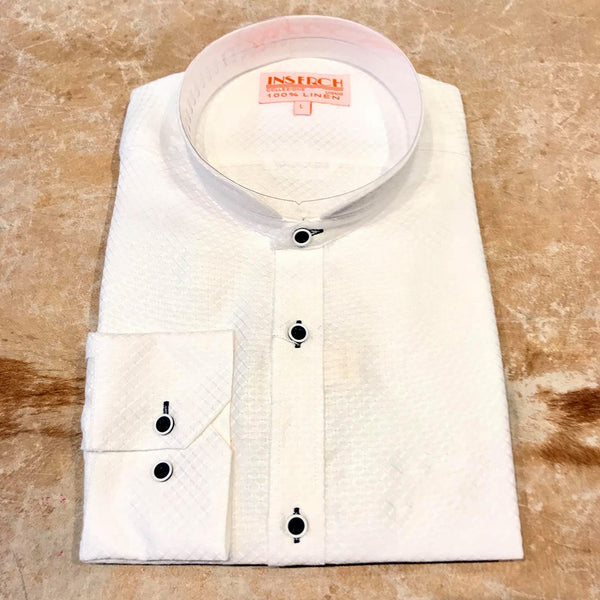 Inserch White Checkered Linen Button Up Shirt