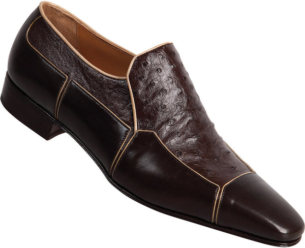 "Mauri - ""3004"" Dark Brown Genuine Ostrich/Calf Loafer - Dudes Boutique"
