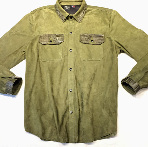 G-Gator Forest Green Suede Alligator Button Up Shirt