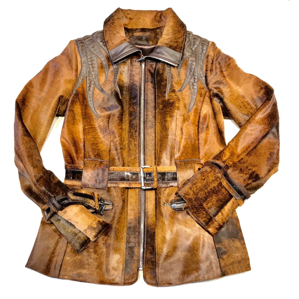 Ladies Natural Rust Pony Hair Jacket - Dudes Boutique