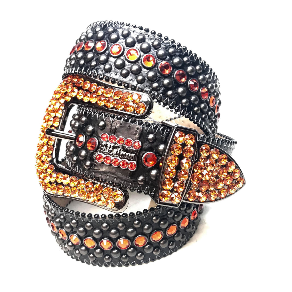 B.B. Simon 'Orange Fire' Fully Loaded Crystal Belts - Dudes Boutique