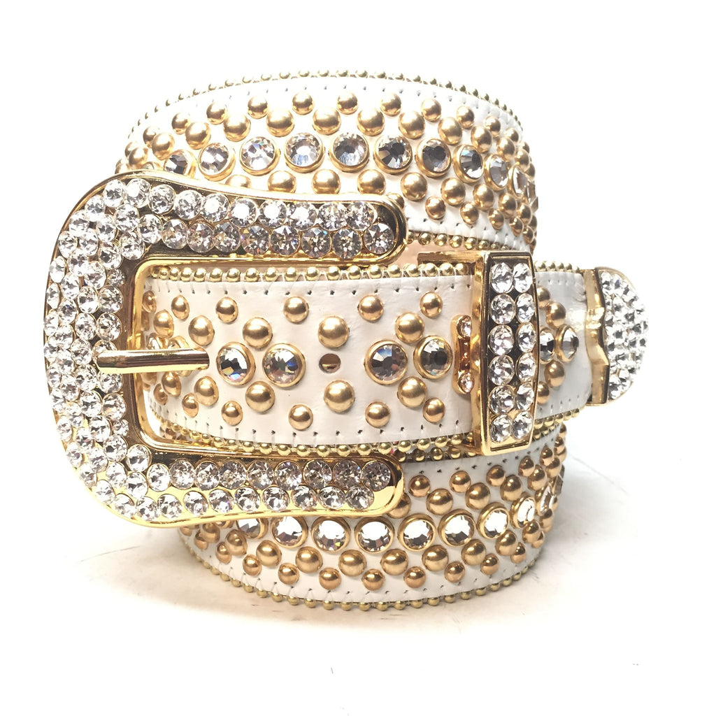 B.B. Simon 'White Gold' Fully Loaded Swarovski Crystal Belt - Dudes Boutique