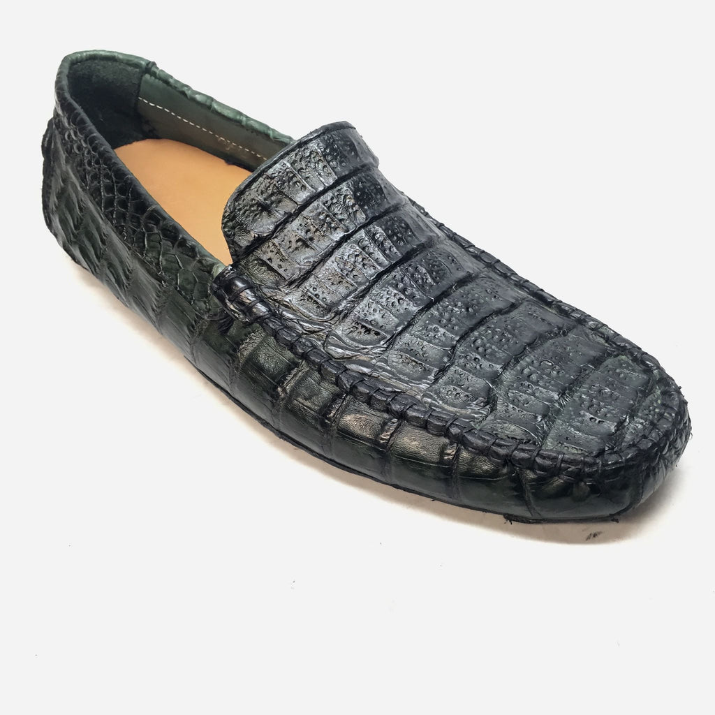 Calzoleria Toscana All-Over Green Crocodile Belly Loafers - Dudes Boutique