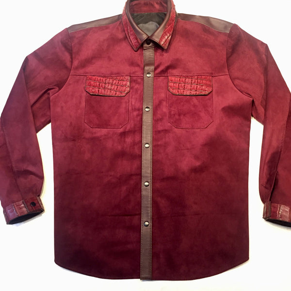 KASHANI Alligator Deep Wine Suede Button Up Shirt - Dudes Boutique