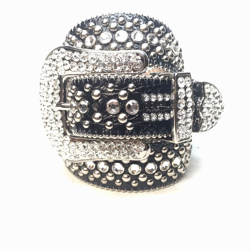 98180537df63 B.B. Simon  Classic  Black Fully Loaded Swarovski Crystal Belt - Dudes  Boutique