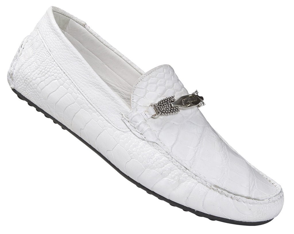"Mauri - ""3105/4"" White Ostrich Leg/Alligator Loafer - Dudes Boutique"