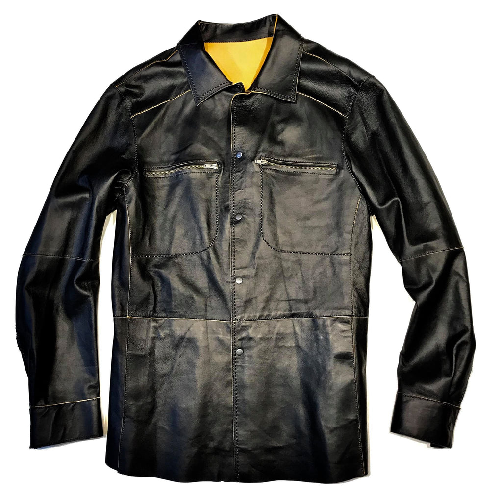 Jose Luis Black Lambskin Snap Button Up Shirt - Dudes Boutique