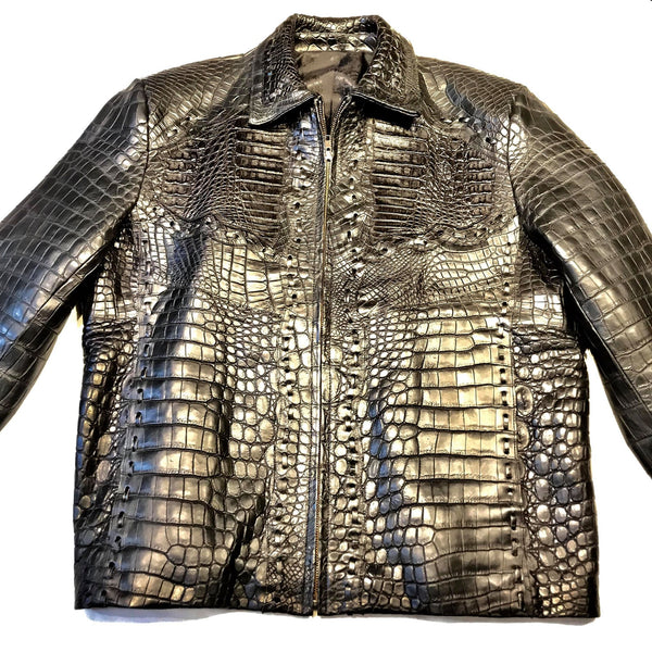 Kashani Black All Over Alligator Jacket