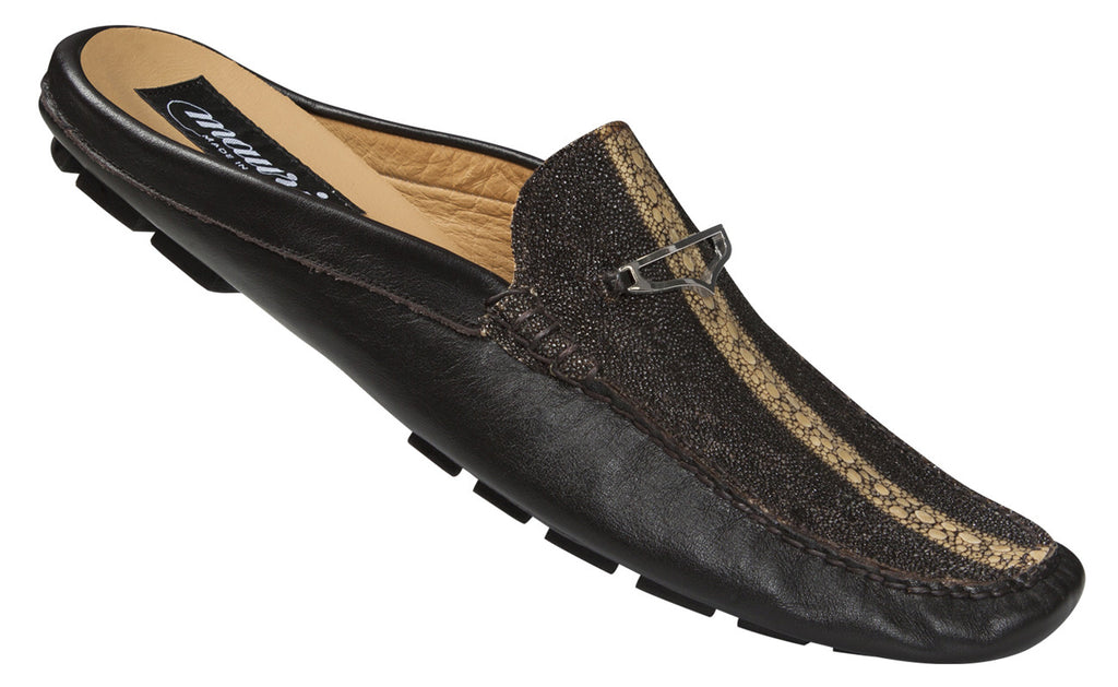"Mauri - ""3136"" Dark Brown Highway Stingray/Nappa Half Shoe - Dudes Boutique"