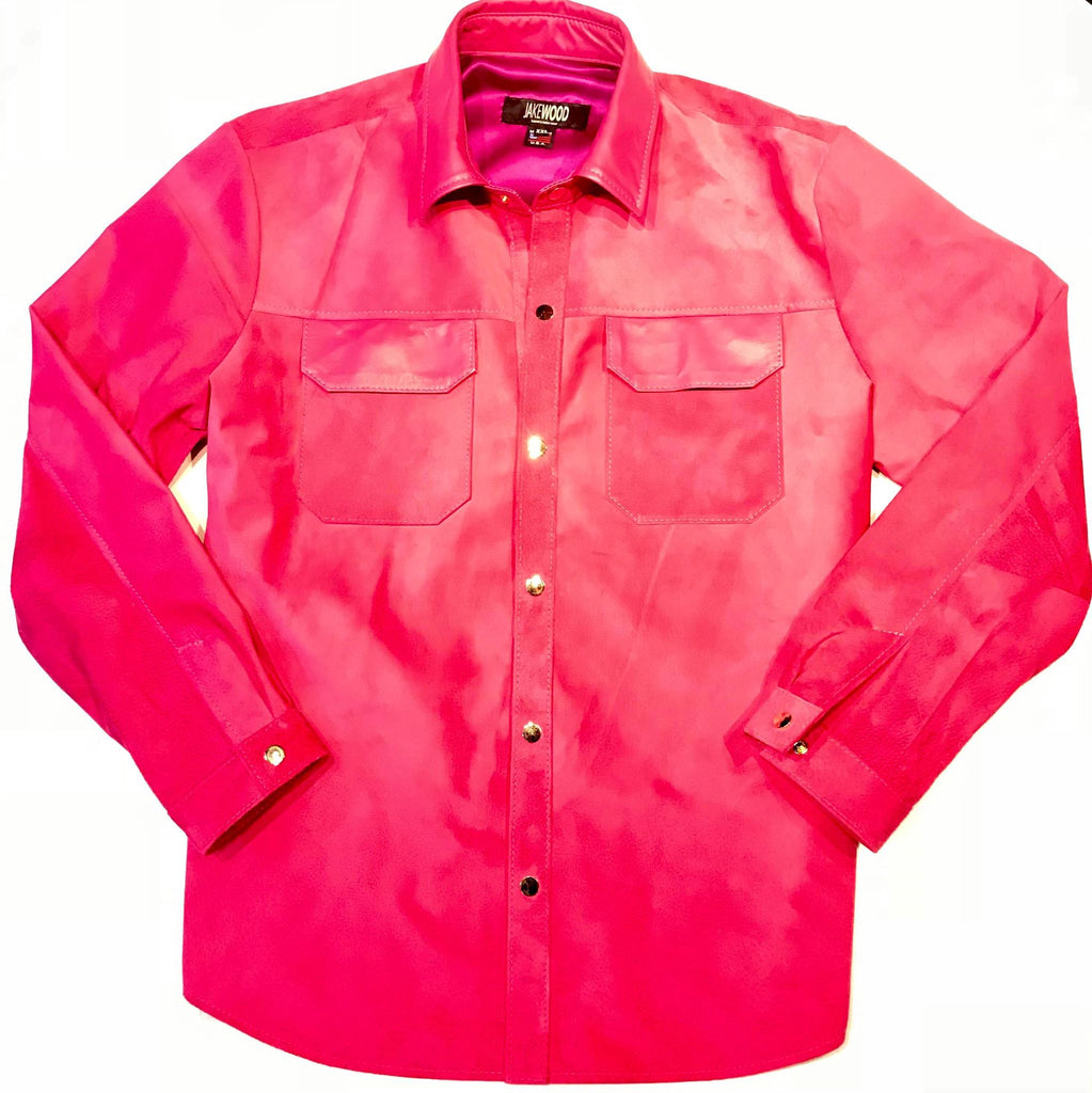 Kashani Pink Suede Button Up Shirt - Dudes Boutique