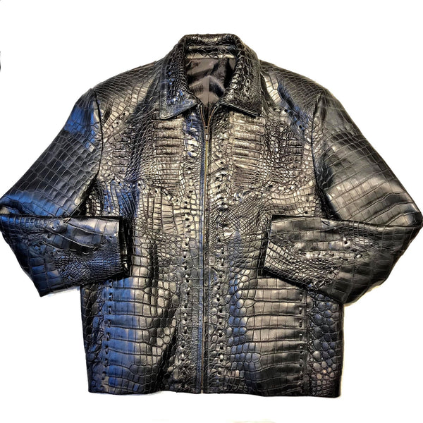 Kashani Black Full All Over Alligator Jacket