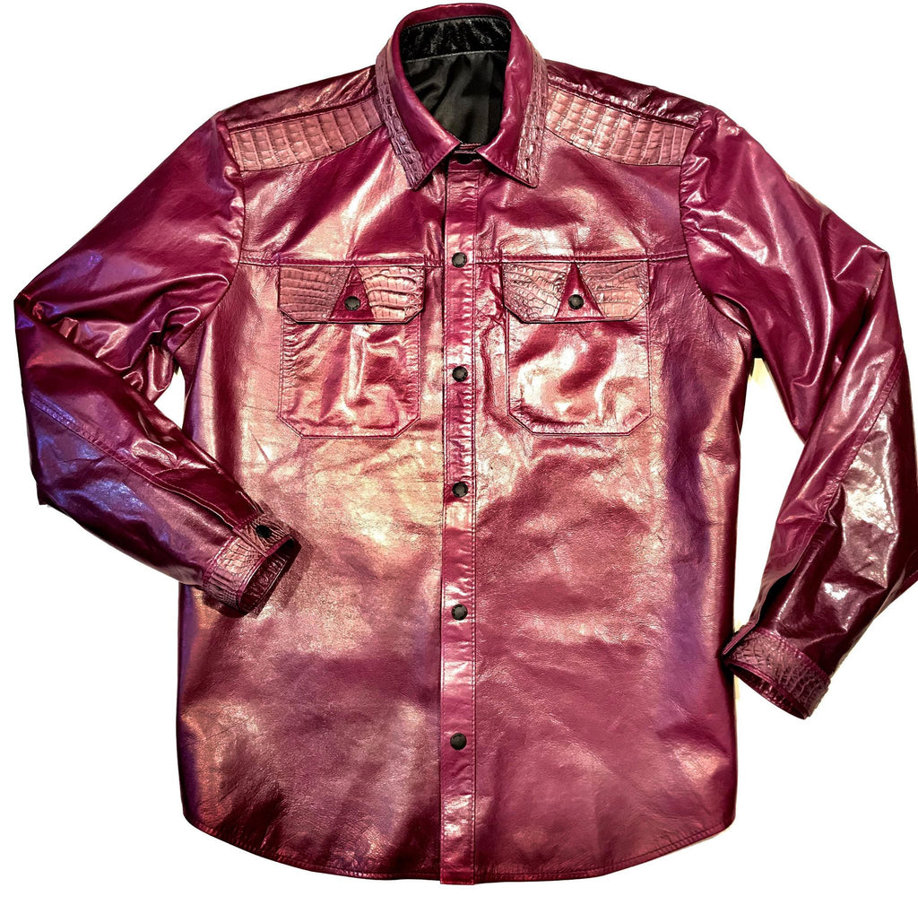 Kashani Wine Waxed Crocodile Lambskin Button Up Shirt