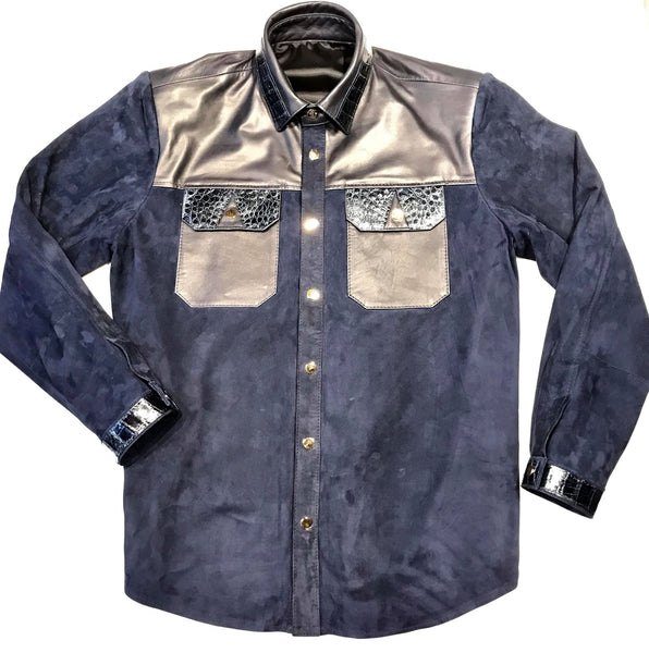 Kashani Deep Navy Crocodile Suede Button Up Shirt