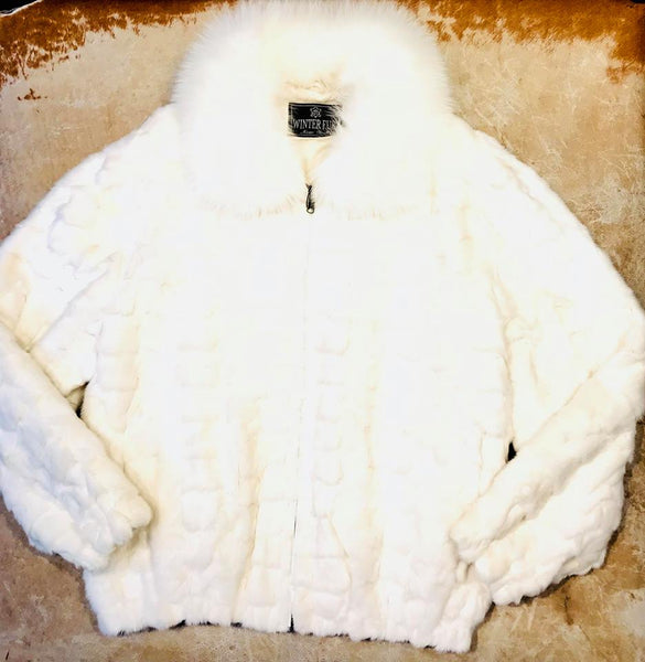 Kashani White Diamond Cut Mink Fur Coat