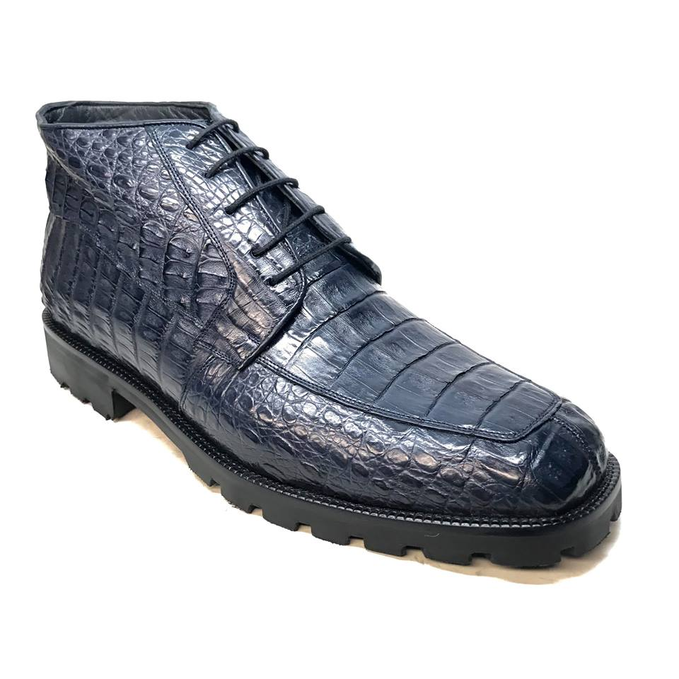 Los Altos Navy Blue All-Over Crocodile Lace Up Ankle Boots - Dudes Boutique