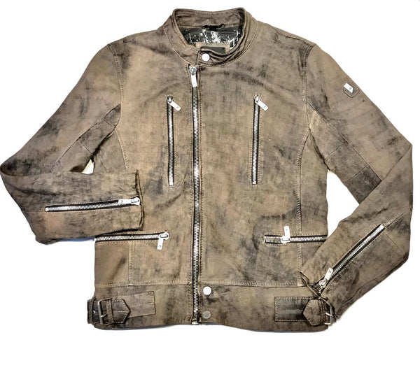 Mauritius Men's 'Tactical' Rustic Lambskin Biker Jacket