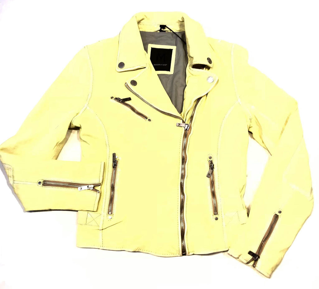 Mauritius Ladies 'Sun Yellow' Washed Lambskin Biker Jacket