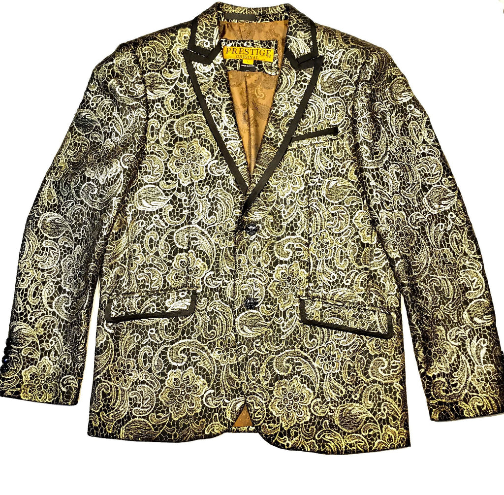 Prestige Exclusive Golden Double Stitched Blazer - Dudes Boutique