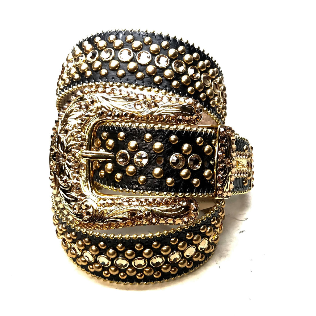 B.B. Simon 'ORO Negro' Studded Crystal Belt - Dudes Boutique