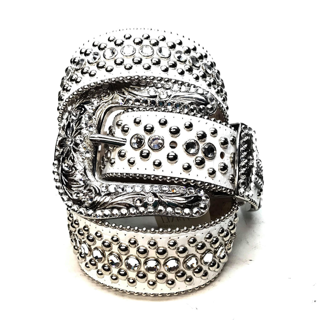 B.B. Simon 'White Magic' Studded Swarovski Crystal Belt - Dudes Boutique