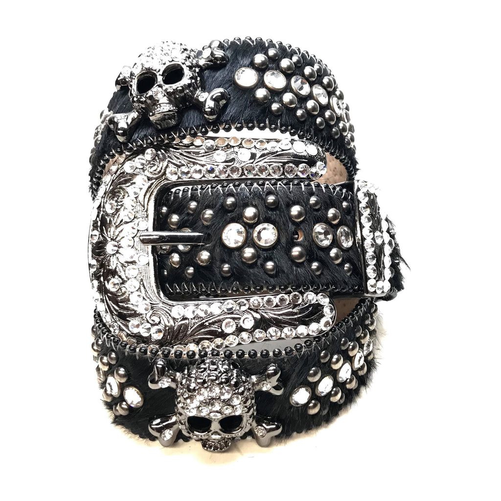 B.B. Simon 'Black Skull' Pony Fully Loaded Swarovski Crystal Belt - Dudes Boutique