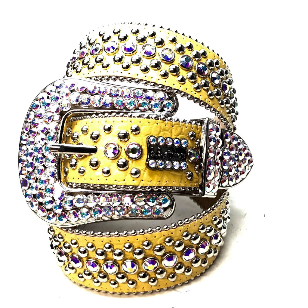 B.B. Simon 'Yellow Croc' Fully Loaded Iridescent Swarovski Crystal Belt - Dudes Boutique