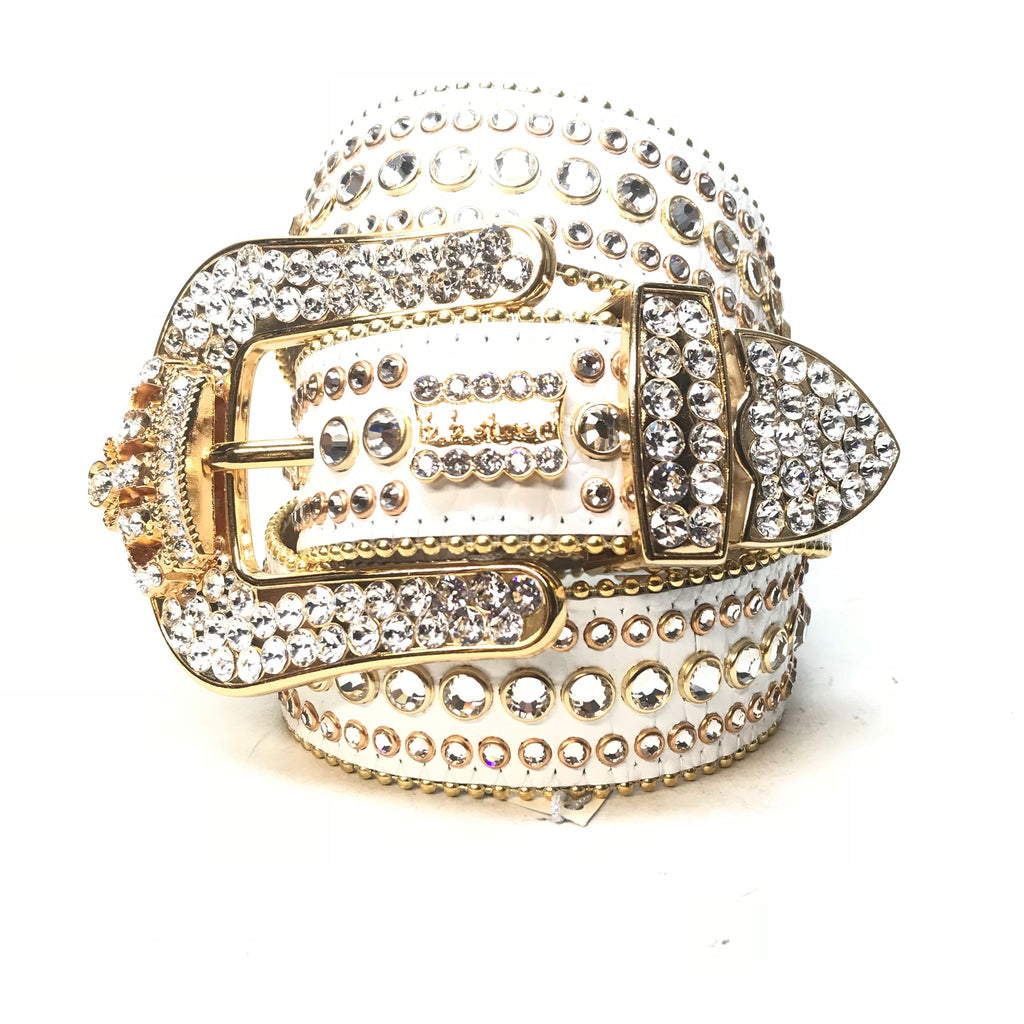 B.B. Simon 'White Gold Crown' Fully Loaded Swarovski Crystal Belt - Dudes Boutique