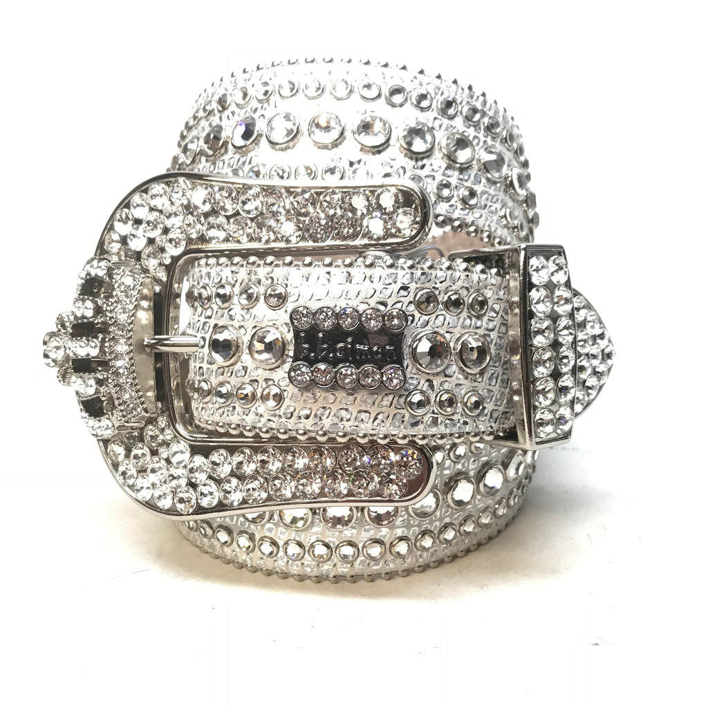 B.B. Simon 'Chrome Crown' Fully Loaded Swarovski Crystal Belt - Dudes Boutique
