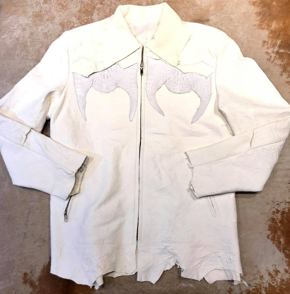 Kashani LUX White Raw Cut Alligator Lambskin Bomber Jacket - Dudes Boutique