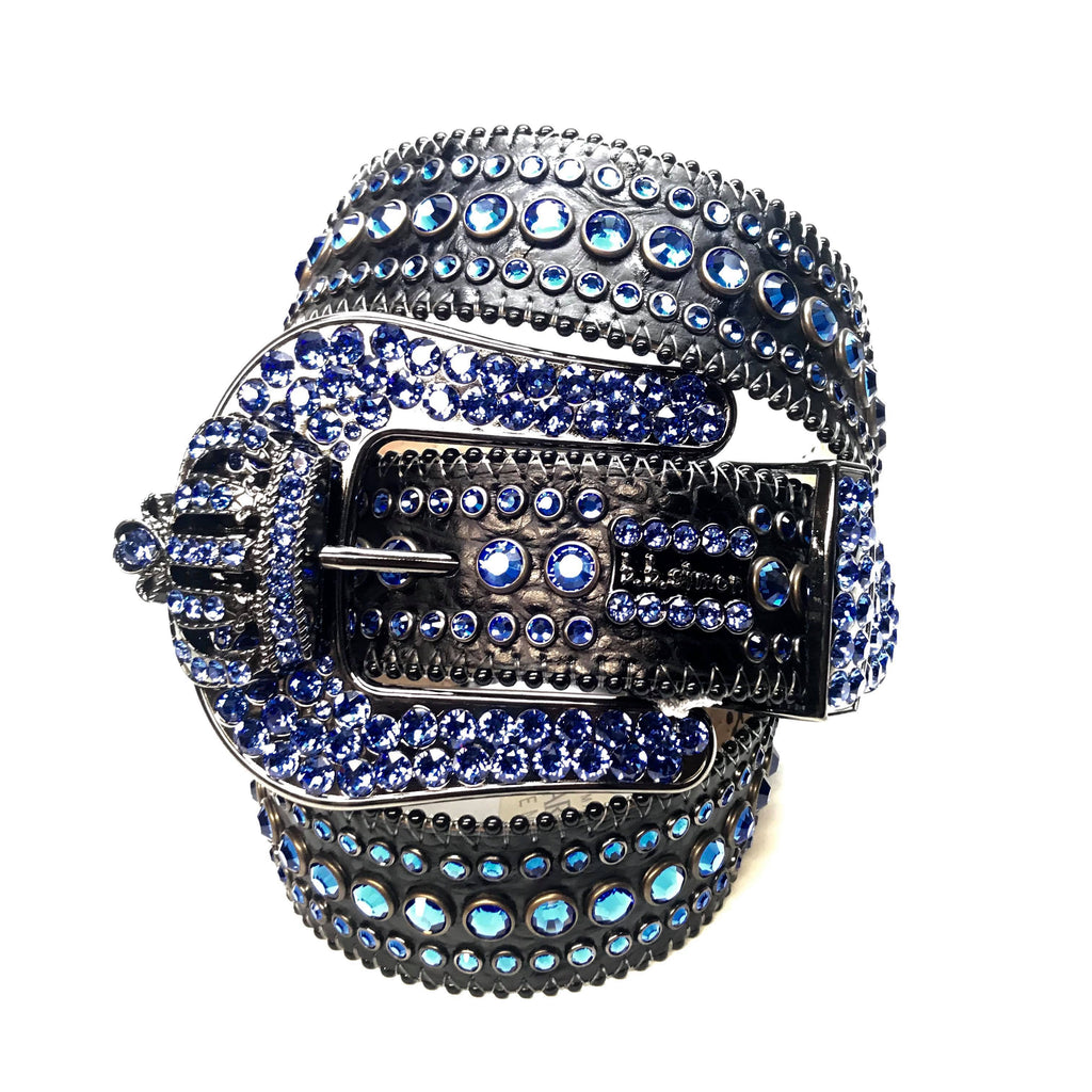 "B.B Simon ""Blue Black Crown"" Fully Loaded Crystal Belt - Dudes Boutique"