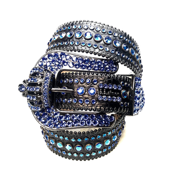 "B.B Simon ""Blue Black Crown"" Fully Loaded Swarovski Crystal Belt - Dudes Boutique"