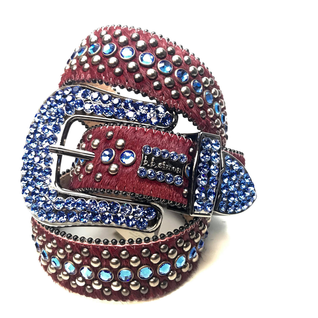 B.B. Simon Red Blue Two Tone Pony Swarovski Crystal Belt - Dudes Boutique