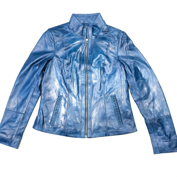 Scully Ladies Western Ocean Blue Lambskin Jacket