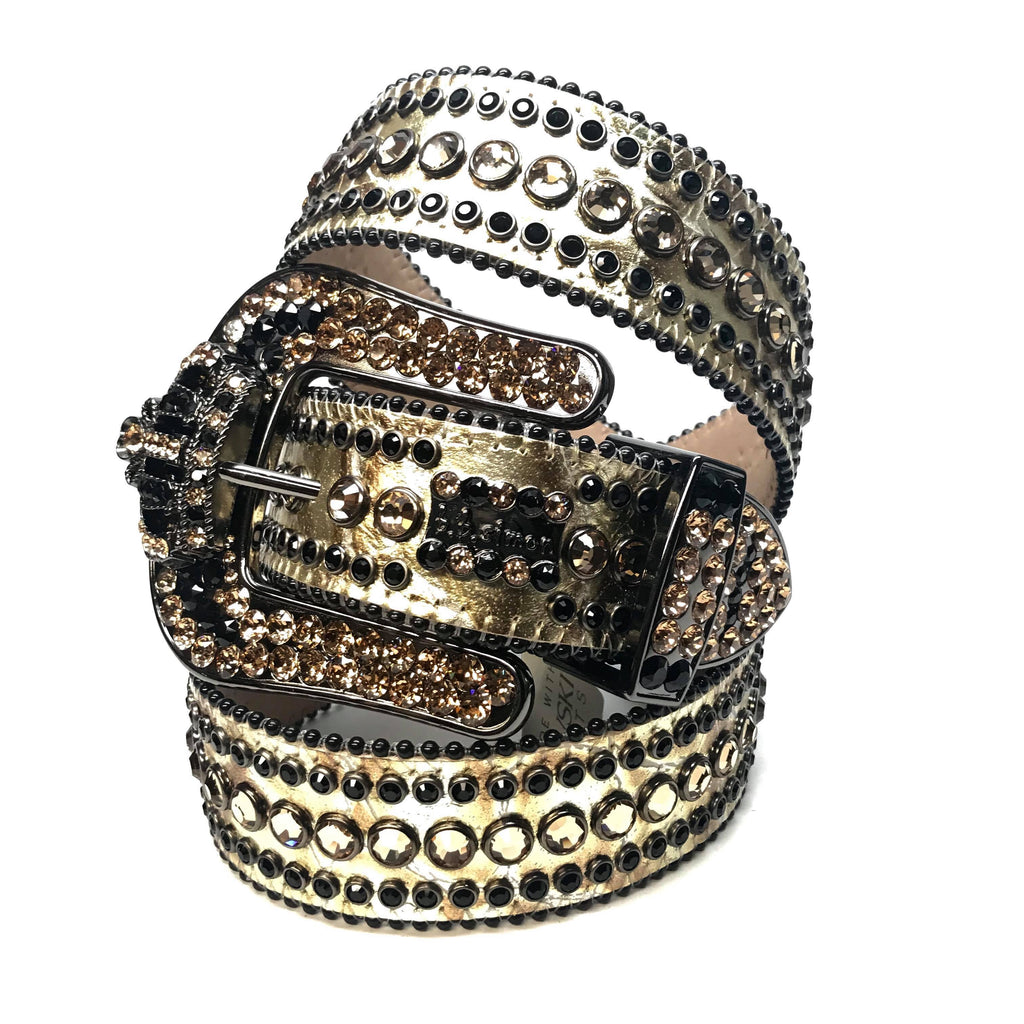 B.B. Simon Golden Crown Croco Swarovski Crystal Belt - Dudes Boutique