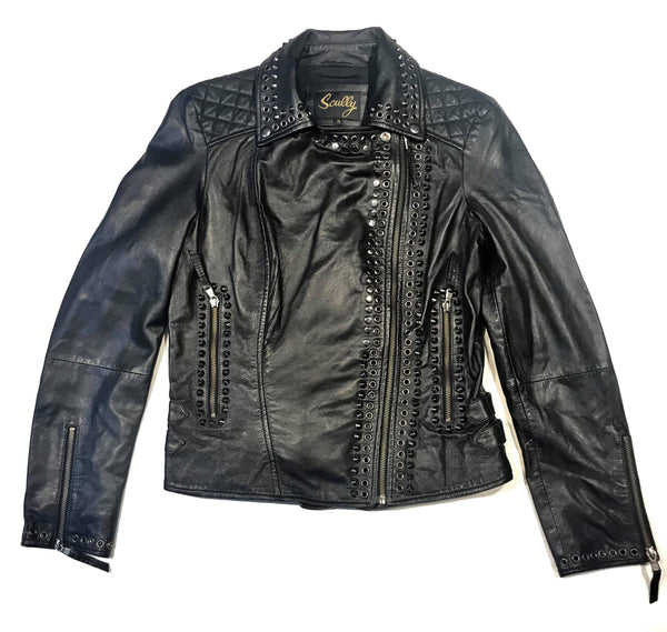 Scully Ladies Studded Spike Lambskin Biker Jacket