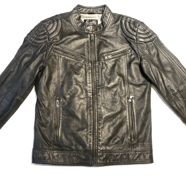 Scully Jet Black Western Lambskin Bomber Jacket