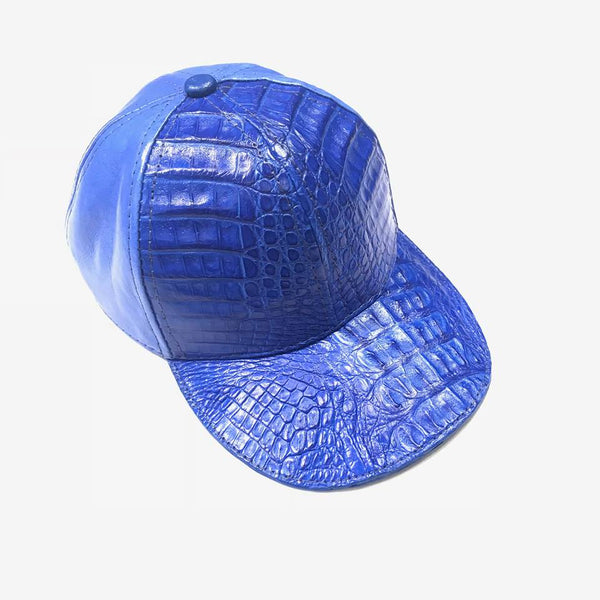 Wonder Blue Crocodile & Ostrich Quill Strapback Hat - Dudes Boutique