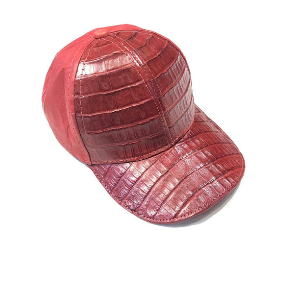 Candy Red Crocodile & Ostrich Quill Strapback Hat - Dudes Boutique