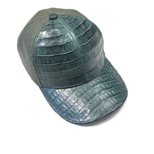 Kashani Forest Green Alligator & Ostrich Quill Strapback Hat - Dudes Boutique