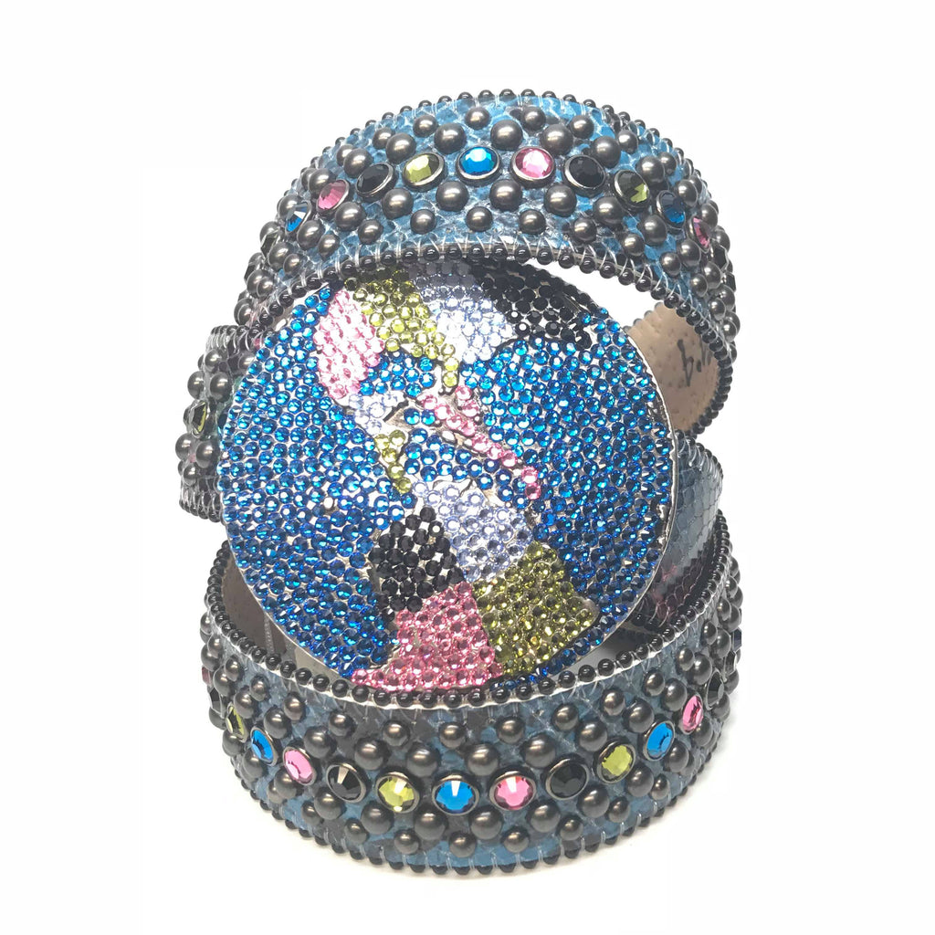 B.B. Simon Globe Python Fully Loaded Swarovski Crystal Belt - Dudes Boutique